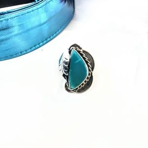 Vintage Sterling Mexico Blue Stone Ring